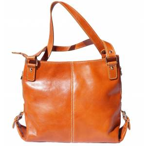 Shopping bag with double handle made of genuine calf leather