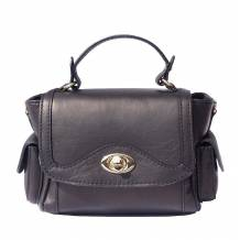 Small leather handbag with two side pockets