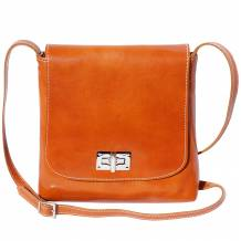 Medium flat shoulder bag in cow leather