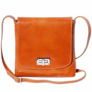 Medium flat shoulder bag in cow leather