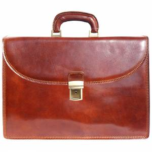 Leather briefcase with three compartments