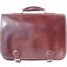 Leather briefcase in two compartments with double pockets on the front