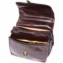 Cartella porta notebook in pelle di vitello tamponata a mano con tre scomparti