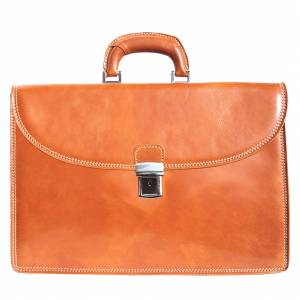 Genuine leather briefcase with three compartments