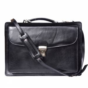 Leather briefcase Business class with two compartments