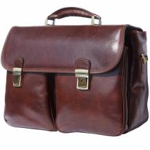 """Leather Business briefcase """"Andrea"""" with two wide front pockets"""