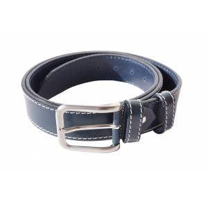 Leather belt with white stitching