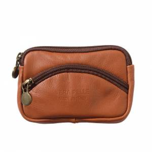 Soft leather coin purse with zip